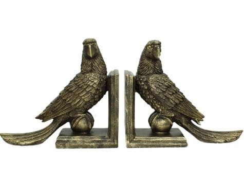 parrot bookends | gold parrot bookends | Libra